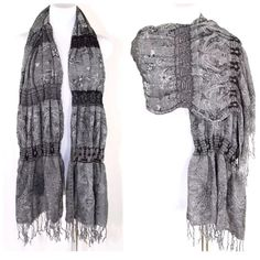 "B30 Black Gray Reversible Puffy Paisley Scarf Puffy Long Shawl  Retail $59 ‼️ PRICE FIRM UNLESS BUNDLED WITH OTHER ITEMS FROM MY CLOSET ‼️  Absolutely beautiful & versatile!  Can be worn with a LBD or with your favorite pair of jeans.  This beautiful wrap is sure to add style to even the most basic outfit.  100% rayon.  76"" long & 25"" wide.  There is elastic in the gathered sections so it will spread out quite a bit more.  Please check my closet for many more items including designer…"