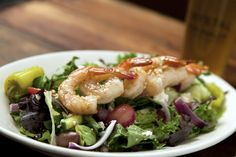 OUr Greek Salad topped with Grilled Shrimp