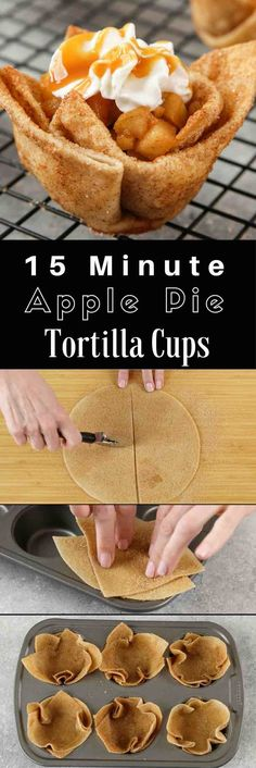 Make these delicious Apple Pie Tortilla Cups for an easy dessert recipe on any f. Make these delicious Apple Pie Tortilla Cups for an easy dessert recipe on any festive occasion. Mexican Food Recipes, Sweet Recipes, Cookie Recipes, Easy Recipes, Recipes Dinner, Healthy Recipes, Mexican Desserts, Mexican Dessert Easy, Mexican Easy