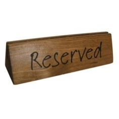 Wooden Reserved Table Signs, in Dark Oak with Menu Slot, Printed on Both Sides, in Stock for Next Day Delivery. Reserved Blocks that Hold Menu's too Reserved Table Signs, Menu Holders, Bowl Designs, Barnsley, Display, Messages, Prints, Design Ideas, Dark