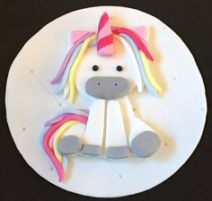 "edible icing Unicorn Birthday  flat 7"" cake topper cake decoration"