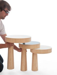 """South African-born, German-based designer Philipp Beisheim created the TOAD Side Table that was born from his philosophy of not trying to solve problems, instead """"it's more about creating new situations."""" TOAD is composed of three table pieces that cannot stand on their own. In order to function as a table and gain stability, they must be connected together. In doing so, a new form is created."""