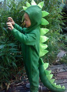 Dinosaur Halloween Costume Kids Green Dino full suit by BooBahBlue, $84.00
