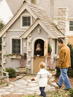 Carbon Copy. Relying on detail and material can help playhouses resemble small-scale replicas of larger homes. This petite version showcases standout accents, including stucco and stonework on the corners and chimney.