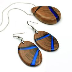 Set of wood resin earrings and necklace Blue resin jewelry