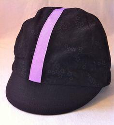 6ca35498bcf black blossoms plaid and lavender stripe cotton cycling cap
