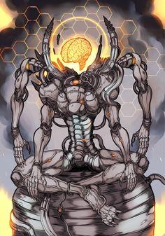 Philosopher King by Francine Bridge digital with tablet Fantasy Character Design, Character Design Inspiration, Character Art, Dark Artwork, Dark Art Drawings, Eldritch Horror, Alien Creatures, Monster Design, Epic Art
