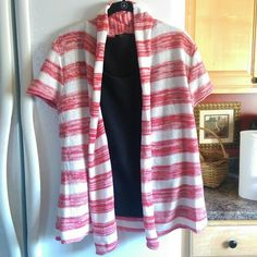 Cute striped open cardigan Short sleeve red and white striped open shawl collar cardigan. Sweaters Cardigans