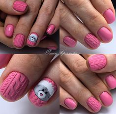 Even on a cold Christmas day, you can still be a sweet girl, just choose a relief manicure and wear a sweater. Christmas Nail Designs, Christmas Nail Art, Winter Nail Designs, Holiday Nails, Cat Nails, Pink Nails, Nail Art Noel, Gel Nail Art Designs, Tribal Nails