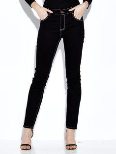 Sale 21% (31.58$) - Black Women Casual Slim Pocket Elastic Mid Waist Skinny Jeans