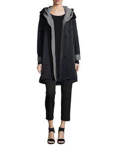 -5YCC Eileen Fisher  Reversible Hooded Rain Coat, Black/Pewter