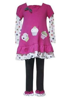 Rare Editions Baby Girls Fuschia Birthday Cupcake Dress Outfit w Leggings  Fuschia  12 Months * Be sure to check out this awesome product.