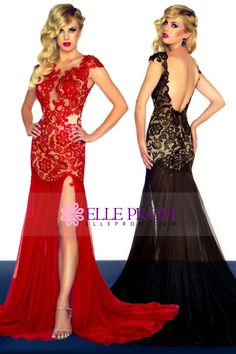 Sexy vestidos de baile Rojo y Negro vaina espalda abierta de barrido / cepillo tren gasa