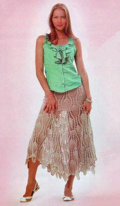 Длинная вязаная юбка крючком с узором ананасы, схемы вязания | Вязаные юбки.ру