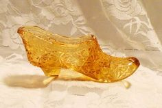 Amber Daisy and Button Art Glass Shoe Fenton by MrsFullersAttic