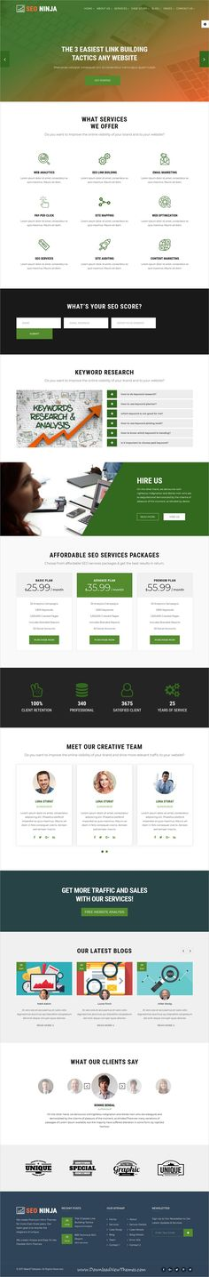 SEO Ninja is clean and modern design 5in1 responsive #HTML template for #SEO and digital #marketing agencies website download now..