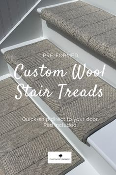 Custom wool carpet stair treads are a simple home improvement to enhance your space.  Handmade with 100% wool with a sewn-in pad.  Give your staircase a fresh look with a new take on the traditional stair runner.  Pre-formed, DIY carpet stair treads are the easy and stylish choice for your family and pets.  Our custom stair treads instantly add an element of safety for everyone.  100+ colors and styles to choose from. Staircase Runner, Staircase Railings, Staircase Design, Stairways, Banisters, Staircase Remodel, Staircase Makeover, Carpet Stair Treads, Carpet Stairs