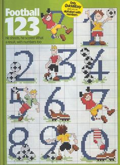 numeros futebol Cross Stitch Numbers, Cross Stitch Letters, Cross Stitch Cards, Cross Stitch Animals, Cross Stitching, Alphabet Images, Alphabet And Numbers, Embroidery Alphabet, Knitting Charts