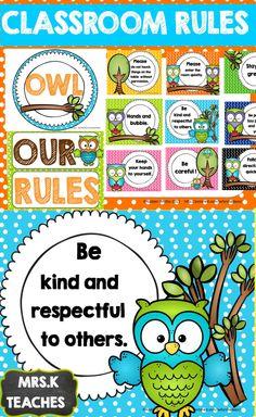 CLASSROOM THEMES- CLASSROOM RULES(OWL OUR RULES SET) EDITABLE