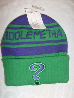 d08aab71f36 BATMAN THE RIDDLER RIDDLE ME THAT   WARM WINTER POM POM BEANIE TEEN KIDS HAT   SPENCERS  BEANIE