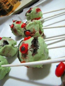Gruesome zombie cake pops for party
