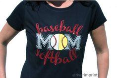 BASEBALL SOFTBALL MOM, sparkly baseball and softball glitter shirt\
