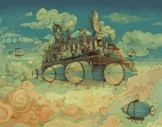 A study of a fantastical skyscape, a small base above the clouds where airships can stop for refueling. Great for lovers of steampunk, fantasy aeronautics, and flying in general. print on lustre photo paper. This will ship in a poster tube. Ville Steampunk, Art Steampunk, Steampunk Airship, Steampunk Festival, Design Steampunk, Steampunk Illustration, Diesel Punk, Alternate History, Retro Futurism