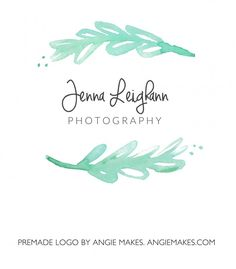 Premade Logo. Modern Hand Painted Watercolor Leaf Logo | angiemakes.com