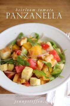 Panzanella is the perfect summer salad to serve with anything - a piece of grilled fish, chicken, steak, shrimp... burgers, kebabs, sandwic...