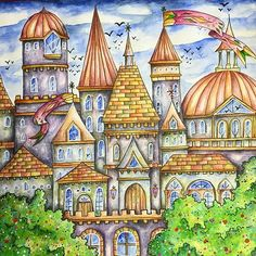 I like coloring castles. Here's one from #romanticcountry I used Inktense and Posca. #romanticcountrycoloringbook #eriy #inktense #posca #ロマンティックカントリー #大人の塗り絵 #adultcoloring