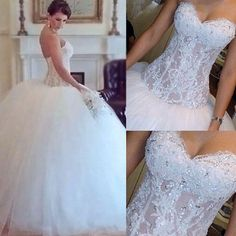 Charming See Through Sweetheart Lace Beaded Ball Gown Wedding Dresses, WD0135
