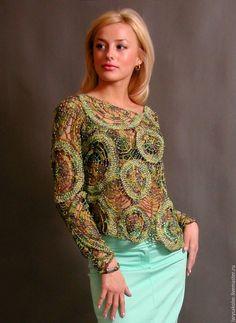 Купить пуловер,,Нефрит,, - тёмно-зелёный, пуловер вязаный, пуловер женский, пуловер ажурный