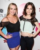 Actors Amy Castle (L) and Erin Sanders (R) attend CURLS 10 year anniversary