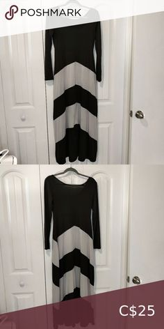 NWOT Long sleeve chevron maxi dress Thin material, Very breathable Black with white chevron inspired stripes on skirt Bought as a large but fits small Excellent condition Dresses Maxi Boho Floral Maxi Dress, Striped Maxi Dresses, Maxi Wrap Dress, Half Sleeve Dresses, Maxi Dress With Sleeves, Long Black Evening Dress, Vintage Formal Dresses, Chevron, Stripes
