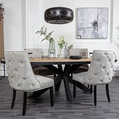 Large luxurious Grey Velvet Dining Chair featuring an elegant button back. Grey Upholstered dining chairs are available with free UK delivery! Grey Upholstered Dining Chairs, Dining Chairs Uk, Luxury Dining Chair, Green Dining Room, Contemporary Dining Chairs, Kitchen Chairs, Dining Furniture, Luxury Furniture, Reclaimed Wood Dining Table