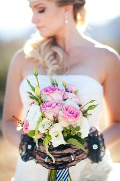 pink flowers + black lace // photo by AK Studio Design // flowers by Bloomers