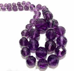 Antique Art Deco Amethyst Purple Czech Glass Clear Crystal Vtg Bead Necklace | eBay