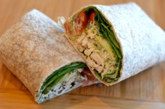 Greek yogurt pesto chicken wrap. 851 kcal (Higher calories due to pesto). Portion on http://www.fitlessflavor.com/week-2-meal-plan/