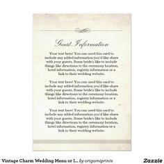Vintage Charm Wedding Menu or Info Card