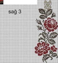 Cross Stitch Rose, Filet Crochet, Bargello, Cross Stitching, Crochet Baby, Cross Stitch Patterns, Floral, Crafts, Green Quilt