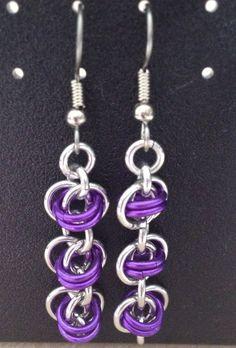 Aluminum/Purple Barrel Weave Earrings by lovestruckjewelry on Etsy, $12.92  #aluminum #earrings