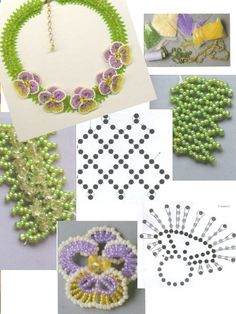 Netted pansy necklace. Translate but pictures are good. #Seed #Bead #Tutorials