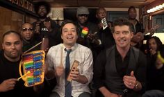 """Jimmy Fallon was joined by Robin Thicke and his house band, The Roots, to perform an elementary school classroom version of Thicke's hit summer song, """"Blurred Lines."""""""