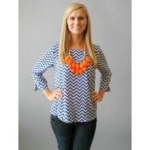 EVERLY: Zig Zag Parade Blouse-Blue - $42.00 Red Dress Boutique