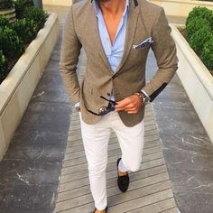 mens tweed blazer blue shirt white jeans brown loafers