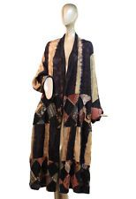 KUSNADI ~ O/S 2X 3X PLUS Rayon ART TO WEAR LONG OPEN DUSTER JACKET w PACTCHWORK