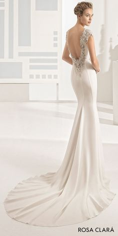 rosa clara 2017 bridal embroidered cap sleeves bateau neckline simple clean elegant sheath wedding dress open low back chapel train (naipe)  bv