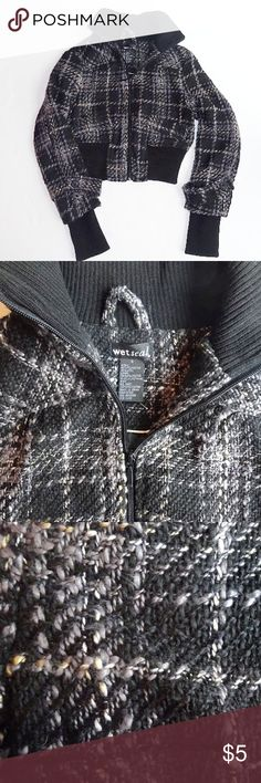 NWOT Wet Seal Bomber Jacket NWOT Wet Seal Bomber Jacket. Size small. Beautiful woven gray/black/white plaid. Never worn, no flaws.  Questions welcome. Wet Seal Jackets & Coats