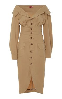 Shop Marita Gingham One-Shoulder Cotton-Poplin Top. Suit Fashion, Look Fashion, Fashion Dresses, Fashion Design, Fashion Coat, Kpop Outfits, Dress Outfits, Casual Dresses, Coats For Women