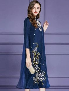 Embroidery Organza Stand Collar 3/4 Sleeve Maxi Dress